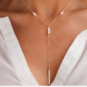 LAST! 5 stars! Gold pearl detail lariat necklace